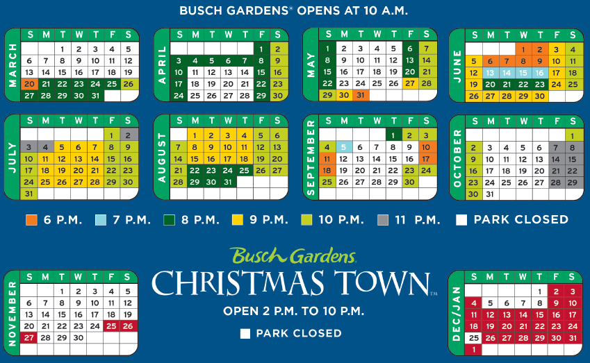 Busch Gardens Kings Dominon 2016 Schedule Analysis Busch Dominion