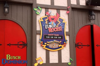 Elmo Rocks signage on the front of the globe.