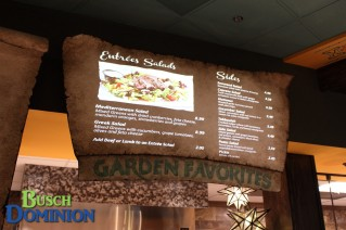 Garden Favorites Menu. Fun Fact: These are projected menu boards!