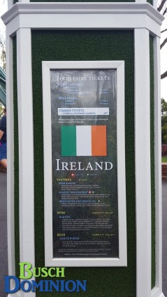 Ireland menu