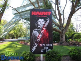 One of many Haunt advertisements throughout the park.